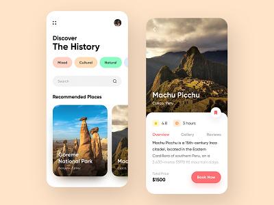 Travel App Design Concept trip concept travel agency traveling travel app booking history mobile app app design app