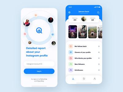 Instagram Analytics App analytics mobile app design mobile app concept instagram social network app design app