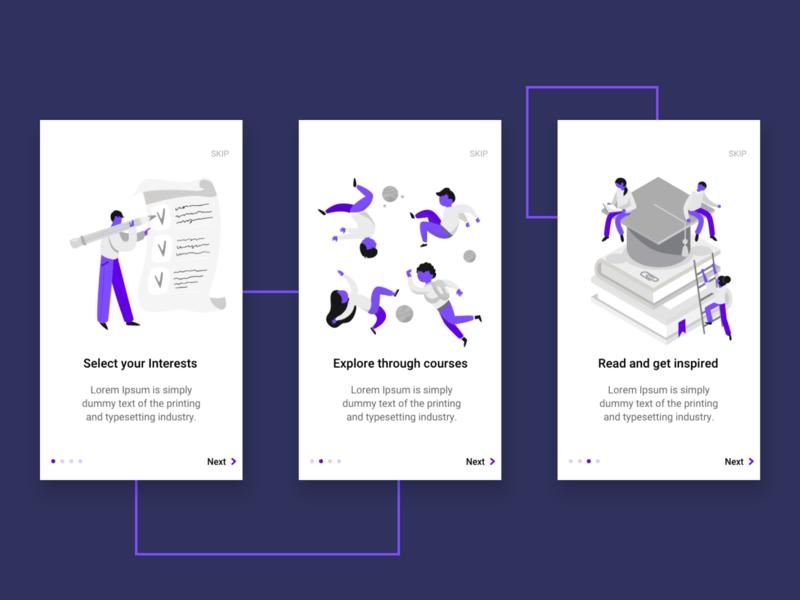 Walkthrough screens for a Concept Application ux design ui design ui ux purple materialdesign app app design design walkthrough android app design android app android onboarding adobexd