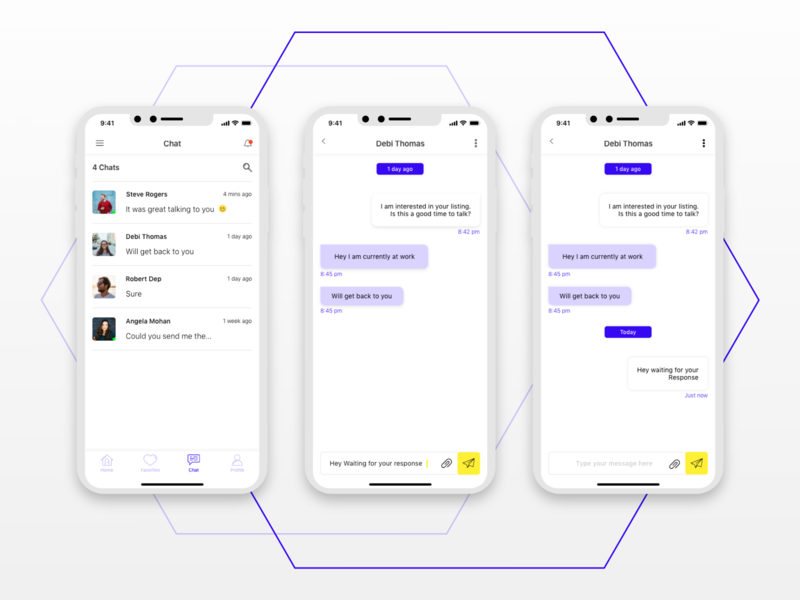 Chat Screens of a Concept Application. message app messaging mobile app mobile app design app application design ux ui whitespace app design adobexd ios text chatting chat chat app chatscreen