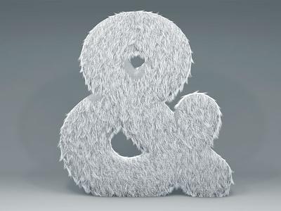 Furry Ampersand illustration digital c4d 3d letter ampersand furry fur