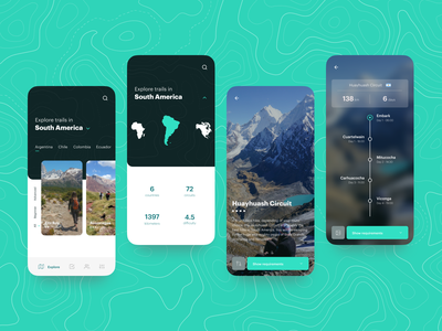 Hiking Trails Concept design interface app design travel concept explore hiking ios app