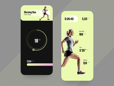 Running App Concept ios excercise running app workout motion design explore app interface concept ui