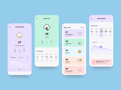 Weather App Screens concept interface weather ios