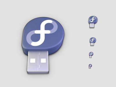 Fedora USB image creator inkscape blender 3d icon design