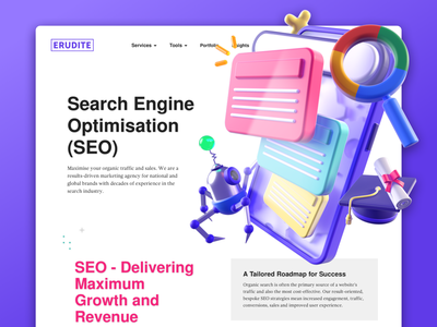 Erudite - SEO Service ui  ux uiuix ui app design icon ui web ios guide seo 3dart 3dillustration illustration icon graphic erudite dribbble c4d branding app design app 3d