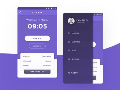 Clockin App visual design workplace checkin sidebar status mobile app ux ui