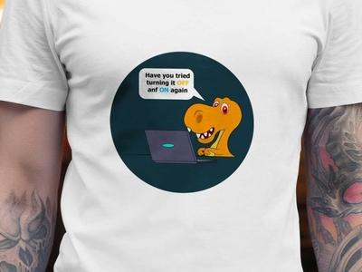 Customer Service funny dinosaur Design t-rex humorous t-shirt design trendy logotype apparel design fashion vector funny character funny illustration turn off turn on customer support dinosaur customer experience funny customer customer service
