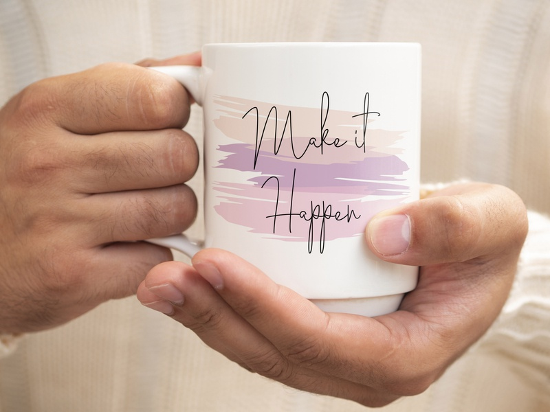make it happen typography trendy funny apparel design fashion vector design trending colorfull grudge illustration inspirational make it happen logotype coffee bean coffeeshop coffee cup