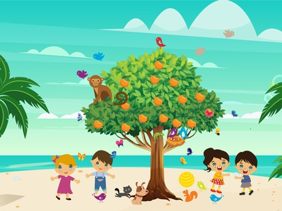 Simple children book illustration for client dog kitty application beachball bird children book monkey palmtree child orange tree orange apple tree beach children book illustration childrens illustration coloringbook childrens children childrens book