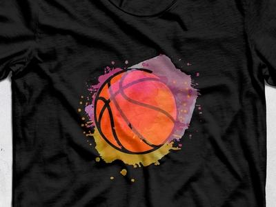 Watercolor basketbal t-shirt
