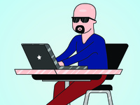 Bald Person with Computer Illustration
