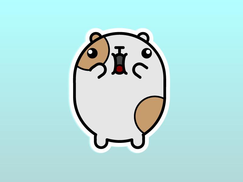 Winston, the Guinea Pig - Screaming Edition hamster pets illustration vector sticker screaming pet animals fat kawai kawaii animal cute guinea pig guinea