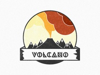 Volcano badge illustration rebound rethink redesign typography banner mountain volcano lava texture icon