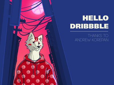 Hello Dribbble hello dribble hello animal fox kitsune anime art illustrator design illustration