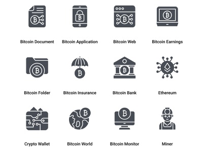 Bitcoin and Cryptocurrency Mining Glyph money world globe electronic money bitcoin earnings web online cryptocurrency bitcoin application bitcoin app form document chart bitcoin labour farmer engineer miner man industrial
