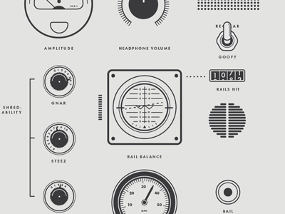Dials for Shreddin' dials gears snowboarding volume knob switch speaker vector