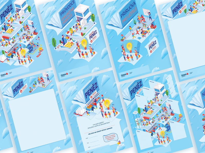 Financial Alphabet (4th grade) visual style advertising campaign advertising banking design picture isometric isometric illustration character design illustration