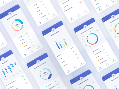 Financial App Mobile UI mobile app mobile ui investor financial app finance analitycs analysis statistics donut chart linechart design interface mobile ux ui product design portfolio dashboad chart