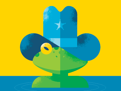 Frog2 frog cowboy hat star poster geometric texas illustration water