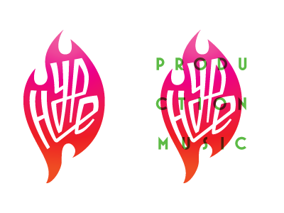 Hype Production Music 4 logo hype music production type color lockup flame gradient overlay
