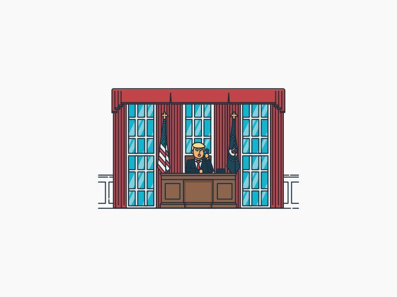 Track Trump illustration oval office white house president inauguration trump