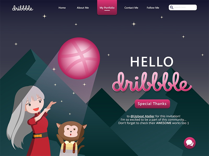 Hello Dribbble! mountain night dribble monkey girl hello dribble ui flat design branding vector modern illustration design