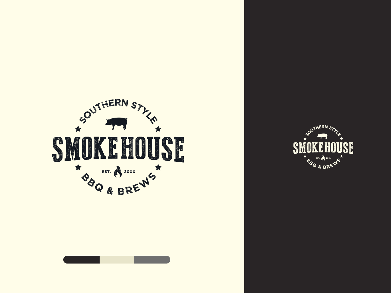 Smokehouse Logo ID Concept logo design flat typography design vector illustration logo branding branding and identity