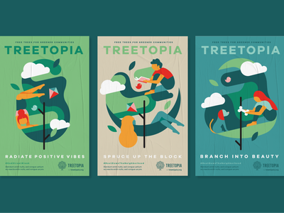 Treetopia logo typography identity illustrator icon flat branding vector illustration design