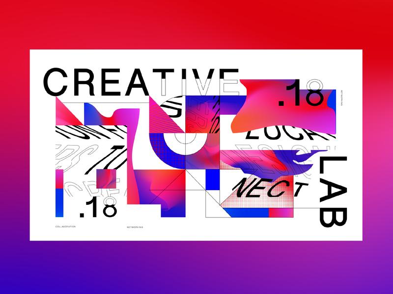 Creative Lab vector flat illustration typography branding design