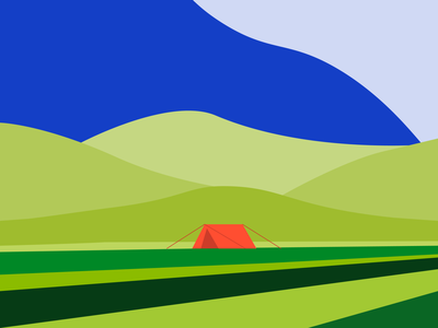 Tent and hills blue illustrator art minimal illustration flat vector