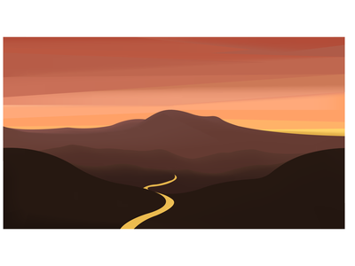 mountains and sunset illustration flat vector