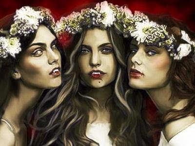 Brides of Dracula illustration painting photoshop wacom dark macabre