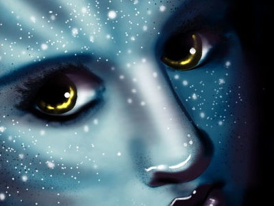 Avatar Inspired Self Portrait avatar self portrait illustration blue girl photoshop wacom