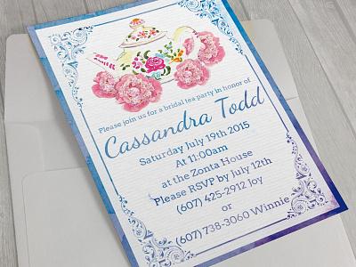 Bridal Shower Invitation envelope print 5x7 card bridal shower invite