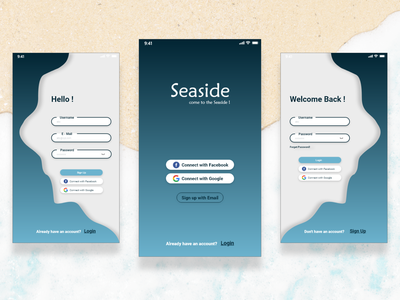 Seaside :)  Adobe XD Practise seaside sea register page register sign in signup sign up login design login screen login form login mobile app design mobile design mobile app mobile adobe xd adobe app ux ui