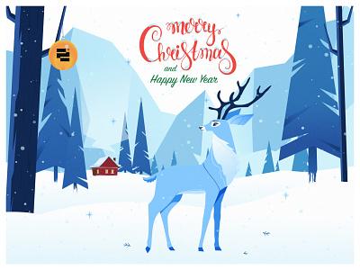 Holiday Card from O2D flat illustration deer illustration agency logo branding design o2d christmas vector illustration ui outline2design holidays