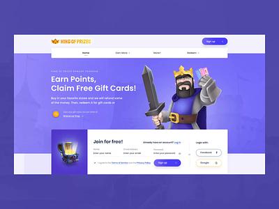 King Of Prizes E-commerce website coins testimonials motion outline2design webdesign gift cards agency animation king ecommerce logo branding vector illustration ux ui