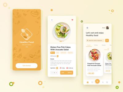 HealthyFood app mobile ui mobile design mobile app webdesign outline2design app ux ui icon vector branding illustration