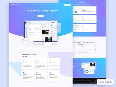 Digital agency landing page (freebie) agancy figma outline2design ux ui illustration branding webdesign freebie landingpage