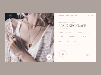 Jewelry Product Page neckless inspiration creative jewelry graphic design motion graphics animation logo illustration branding webdesign design ux ui