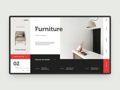 A furniture store concept contrast furniture ux ui design black o2d outline2design