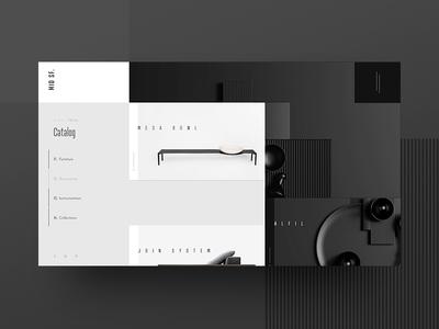 Mid SF Catalog black white minimalism furniture ux ui design webdesign outline2design o2d concept