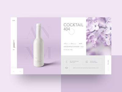 Cocktails сollection pink cocktails ux ui design webdesign concept