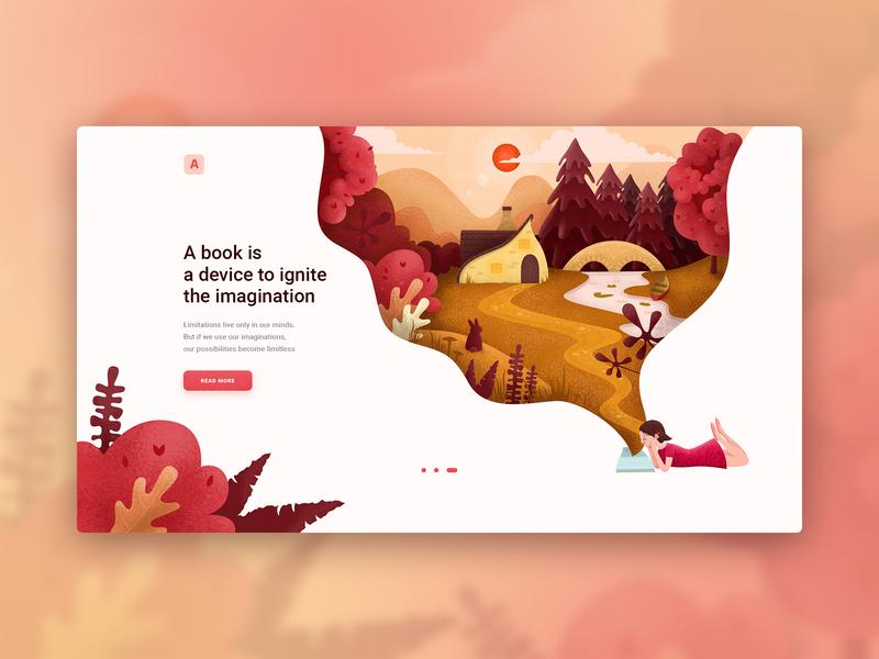 Illustration for the children's library website o2d library outline2design webdesign ux ui illustration design
