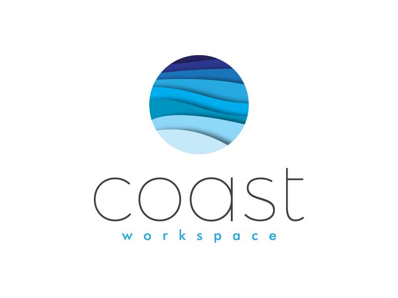 Coast Workspace coast waves vector typography icon brand logo branding design