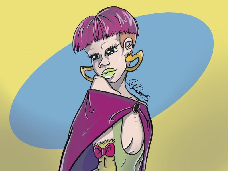 IT Girl drawing art digital skinny bright cartoon cool cute haircut pink superhero superpower girl itgirl it