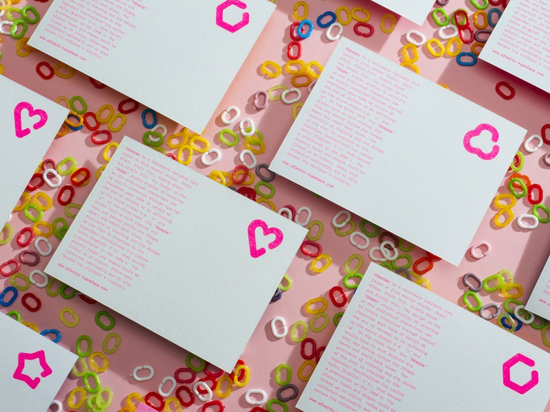 Plastic typeface postcards