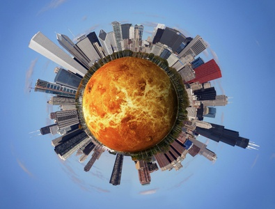 City on Venus filter effect design photoshop adobe art city planet venus