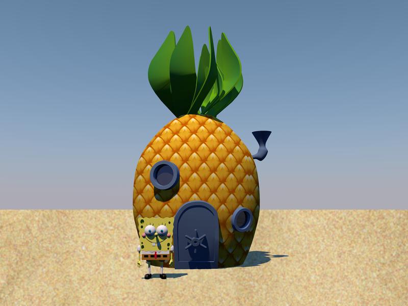 Spongebob 3D Part 2 polygon character 3d artist cloner splines loft extrude texture 3dmodeling cinema4d 3d art 3d spongebob